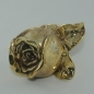 Preview: Goldene Deko Rose zum legen, Gold Grabdekoration, 12cm
