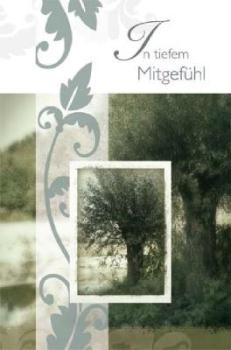 Trauerkarte in 3-D Optik mit Ewigkeitsbaum und Ornament inkl. Ums bei Trauer Shop