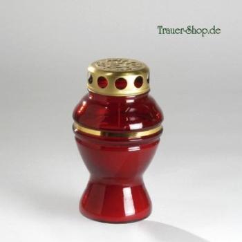 Rote Grablampe, Grablicht mit Kerze, Glas in rot. H 17cm bei Trauer Shop