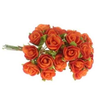 Schaumrose Mini Bund, Dekorosen orange. D 2,5cm. 12 St bei Trauer Shop