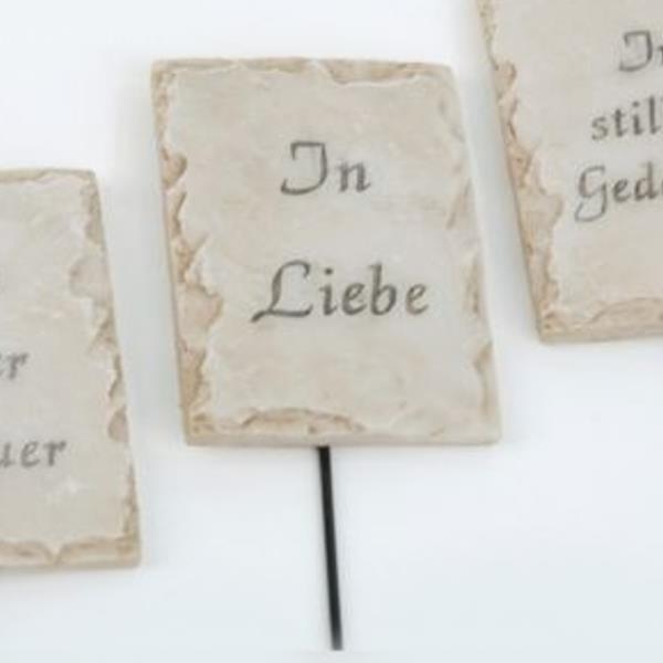 Spruch In Liebe, Deko Platte am Draht, Stein Optik