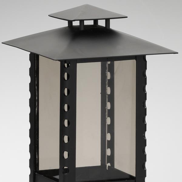 Stahl Grablaterne schwarz, Grabschmuck Laterne für Grablichter